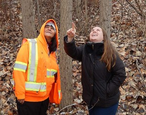 Archaeological monitor Anita Swite (left) and environmental monitor Natasha Lukey are excited about the restoration that will enhance Mission Creek's historical, ecological, and recreational values.